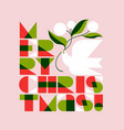merry christmas lettering and dove with flowers vector image vector image