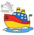 Motor ship coloring book page