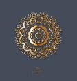 ornamental gold flower oriental mandala on blue vector image vector image