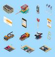 parking isometric icons set vector image vector image