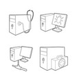 pc icon set outline style vector image vector image
