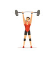 professional athlete holding barbell above his vector image