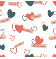 repeating hearts and handwritten words love vector image