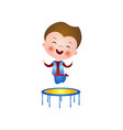 satisfied little boy jumps on trampoline isolated vector image