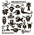 set funny monster characters vector image