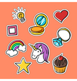 set of fashionable patches star heart ring rainbow vector image