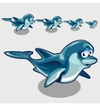 Shy cartoon Dolphins different size cute icons vector image vector image