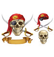 skull and sabers pirate emblem 3d icon set vector image vector image