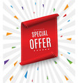special offer ribbonred scroll banner vector image