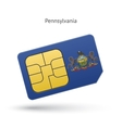 State of Pennsylvania phone sim card with flag vector image vector image
