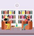 students prepare for exams in library boy vector image vector image