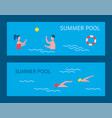 summer pool people on vacation vector image vector image