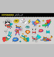 superhero cute sticker collection hand vector image vector image