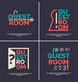 the logo for the quest room vector image vector image