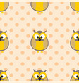tile pattern with owls and polka dots on pink vector image vector image
