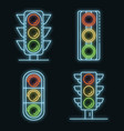 traffic lights icons set neon vector image vector image