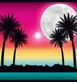 tropical beach palms moon ocean scenery vector image