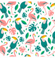 tropical birds and flowers seamless background vector image vector image