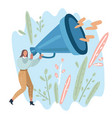 woman holding a big megaphone vector image