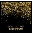 Gold confetti glitter on black background vector image