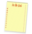 Realistic to do list spiral notebook yellow vector image