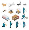 animal control service isometric set vector image vector image