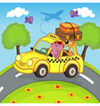 animals traveling in taxi vector image vector image