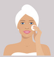 beautiful woman with cotton pad vector image vector image
