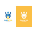 bowling and wifi logo combination unique kegling vector image vector image