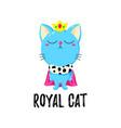 Cartoon doodle kitten in a crown cat king