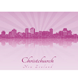 Christchurch skyline in purple radiant orchid vector image vector image