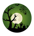 circular landscape of cemetery in halloween night vector image vector image