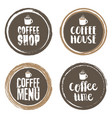 coffe menu letters and cup grunge circle set vector image vector image