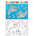 coloring book with marine animals 7 vector image