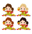 cute little girls with autumn leaves vector image