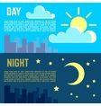 Day and night banners flat sun moon symbols vector image vector image
