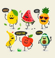 different cute fruits are walking vector image