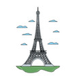 doodle eiffel tower structure and nice clouds vector image vector image