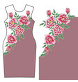 dress design with chrysanthemum and peony vector image vector image
