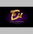 eu e u 3d gold golden alphabet letter metal logo vector image vector image