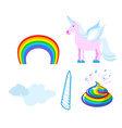 Fantastic set of unicorn Pink fabulous beast with vector image vector image
