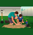 father and son working on a flower garden vector image
