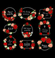 funeral cards with rose flower wreaths set vector image