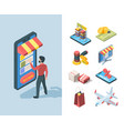 goods sale store online isometric set character vector image vector image