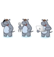 Gray Hippo Mascot with phone vector image vector image