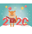 happy new year 2020 celebration cute squirrel with vector image vector image