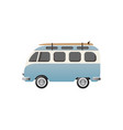 hippie bus with surfboard vector image vector image