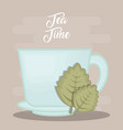 hot cup of tea with tea leaves design vector image vector image