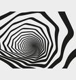hypnotic swirl tunnel spiral striped geometric vector image