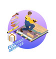 isometric interior repairs concept builder is vector image vector image